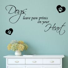 Dogs Leave Paw Prints on Your Heart ~ Wall sticker / decals